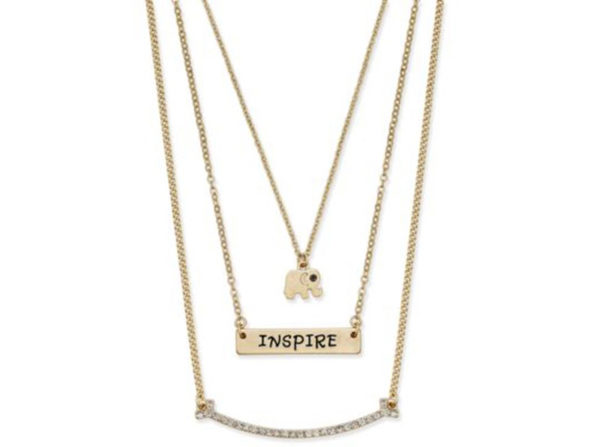 Inspired Life Multi-Layer Inspire Message Pendant Necklace Gold - Product Image