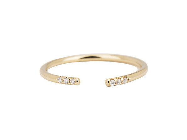 Homvare Women's 925 Sterling Silver Open Cuff Ring - Gold