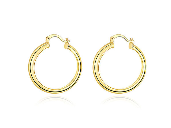 "1.3"" 18K White Gold Plated Hoop Earrings (Gold)"