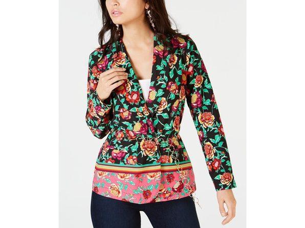 Thalia Sodi Women's Floral Belted Blazer Pink Size Small