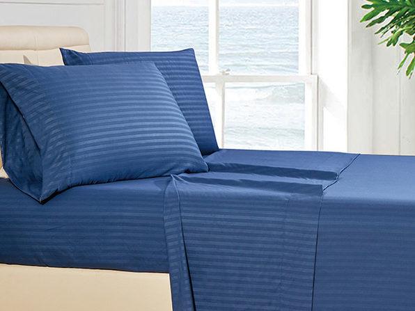 Luxury Ultra Soft 4-Piece Stripe Sheet Set (Navy Blue/King)