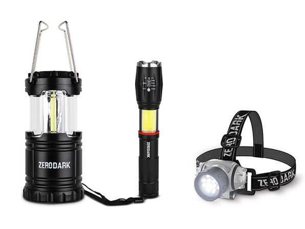 ZeroDark 3-Piece Tactical Set: Flashlight, Lantern & Headlamp