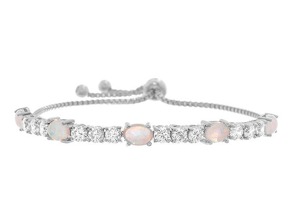 Fiery Opal Adjustable Tennis Bracelet with Swarovski Elements - Silver - Product Image
