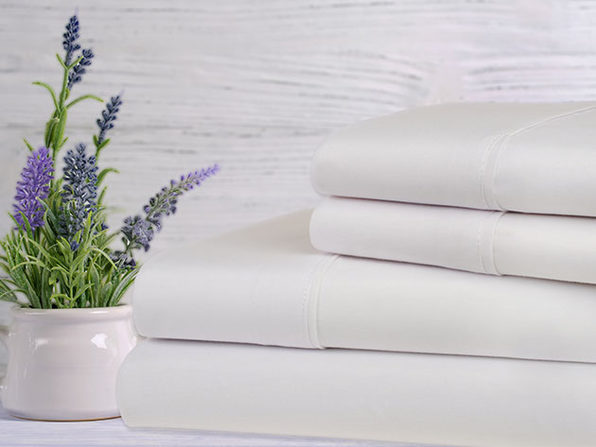 Bamboo 4-Piece Lavender Scented Bed Sheets - Twin - White - Product Image