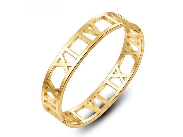 Homvare Women's Roman Numerals Cuff Bracelet Gold