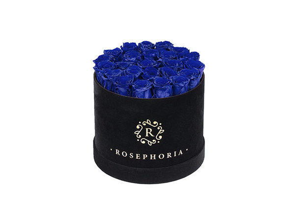 24 Roses Round Box - Blue - Product Image