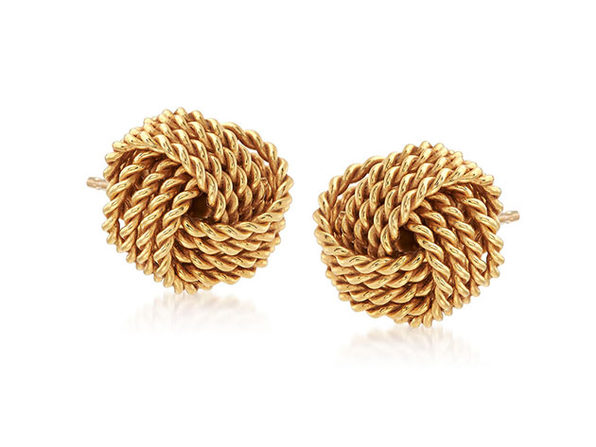 Mesh Twist Knot Stud Earrings Gold - Product Image