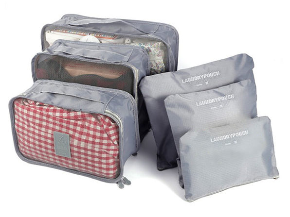 Travel Packing Bags & Storage Cubes: Set of 6 (Gray)