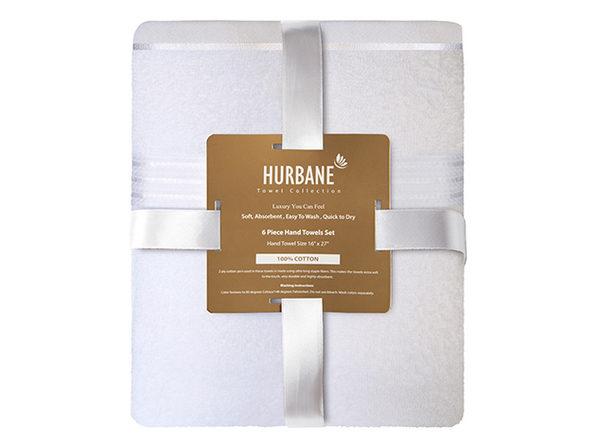 Hurbane Home 6 Piece Hand Towel Set White - Product Image