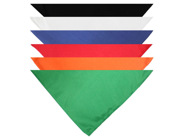 Pack of 9 Triangle Cotton Bandanas - Solid Colors and Polyester - 30 in x 20 in x 20 in - Mix Colors