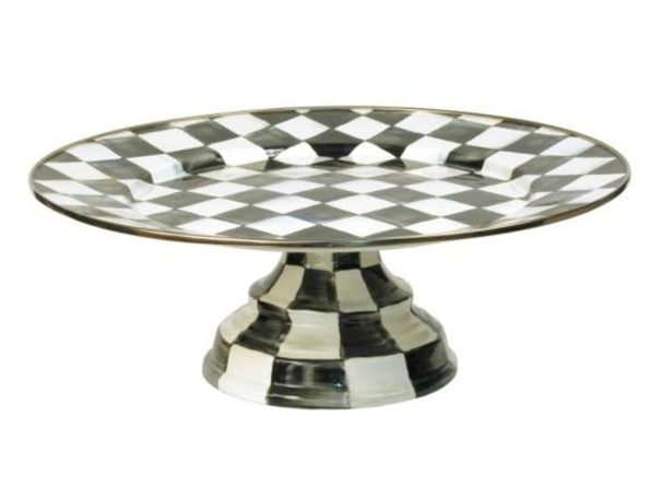 """MacKenzie-Childs Courtly Check Enamel Pedestal Platter - Small 12"""" dia., 4.5"""" tall. - Product Image"""