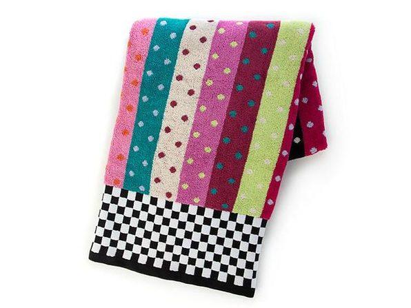 "MacKenzie-Childs 100% Cotton Ribbon & Dot Bath Towel 56"" x 28"" - Product Image"