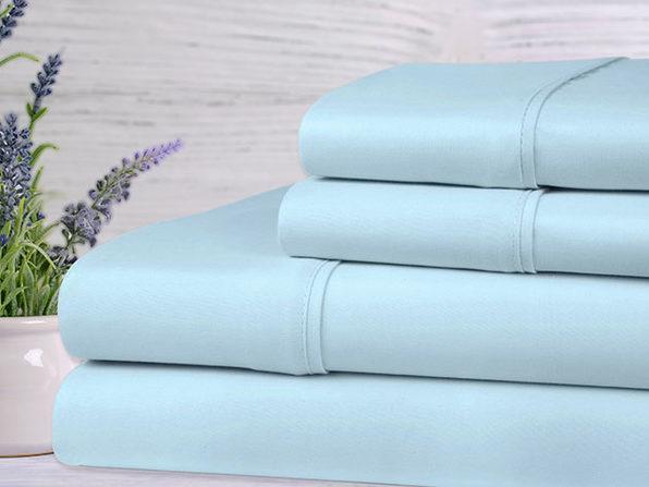 Bamboo 4-Piece Lavender Scented Sheet Set (Aqua/Queen)