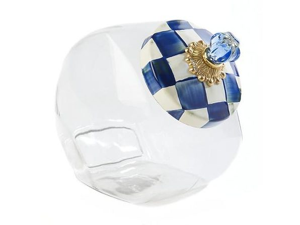 MacKenzie-Childs Cookie Jar with Royal Check Enamel Lid - Product Image