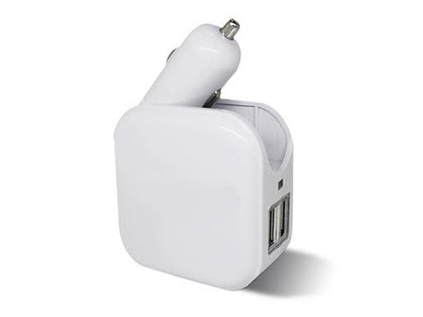 2-in-1 Car & Wall USB Charger  (White)