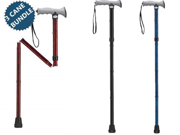 3-PACK Drive Medical Cane Set, 3 Lightweight Aluminum Folding Canes with Gel Hand Grip - Product Image