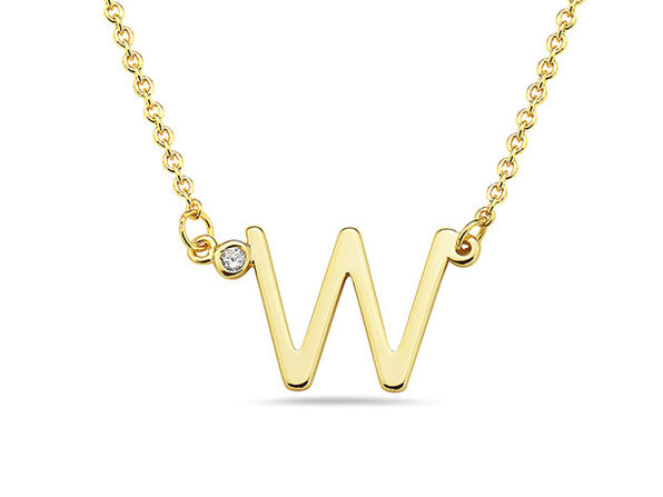 18K Gold Plated CZ Initial Necklaces - W - Product Image