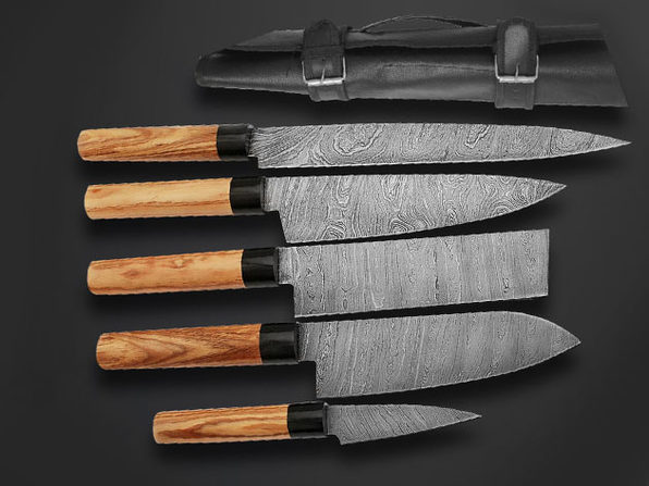 Olive Wood Japanese Style Knives: Set of 5