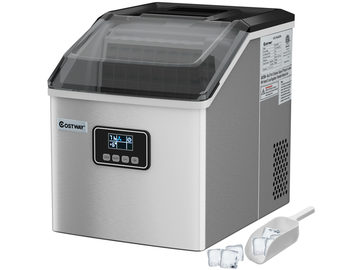 Stainless Steel Ice Maker Machine Countertop 48Lbs/24H Self-Clean w/ LCD Display Silver