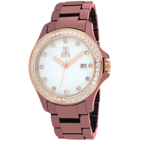 Jivago Women's Ceramic Maroon MOP Dial Watch - JV9415
