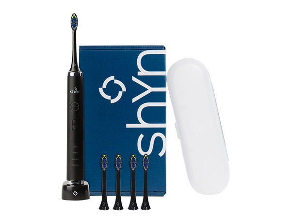 Shyn Sonic Rechargeable Electric Toothbrush with 4 Anti-Plaque Brush Heads, Travel Case & Charger