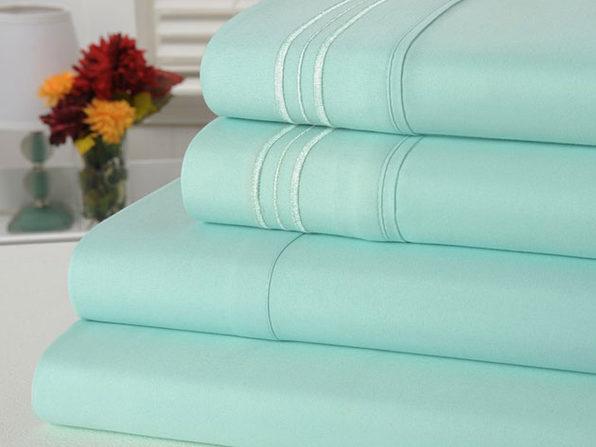 Bamboo Comfort 4 Piece Solid Sheet Set -Queen- Aqua - Product Image