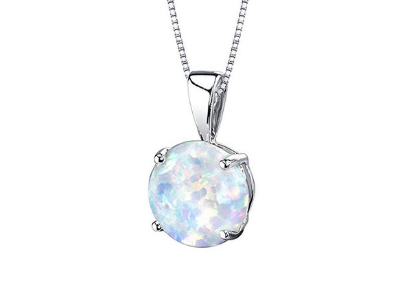 Opal-like Pendant Drop Necklace (Silver)