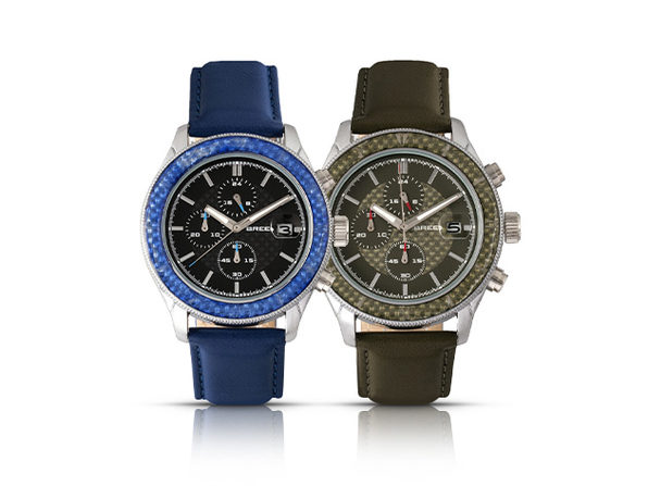 Breed Maverick Chronograph Watch with Leather Band