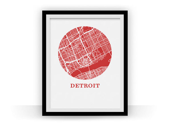 Detroit Map Print (18 x 24) - Product Image