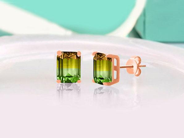 Stud Earrings with Emerald Cut Swarovski Crystals (Kiwi/Green Apple)