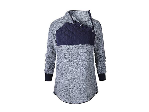 Asymmetrical Neck Mixed Media Fleece (Blue/Medium)