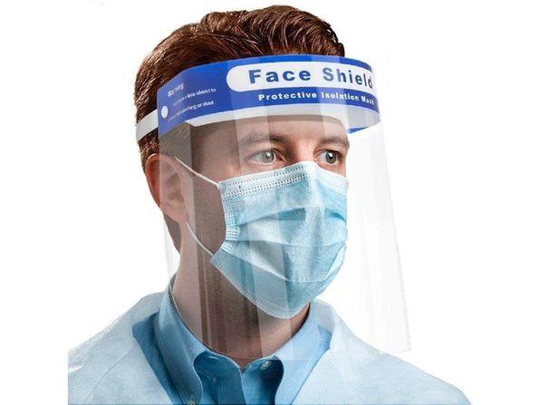 Full Face Mask Shield, Anti Spitting & Anti Fog Lens, Adjustable Cap Style - 5 Pack