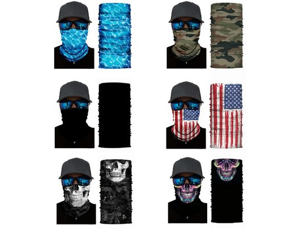 Qraftsy Motorcycle Face Covering Neck Gaiter Bike Riding Cycling Biker Fishing Hunting - 4 Pcs - US Flag