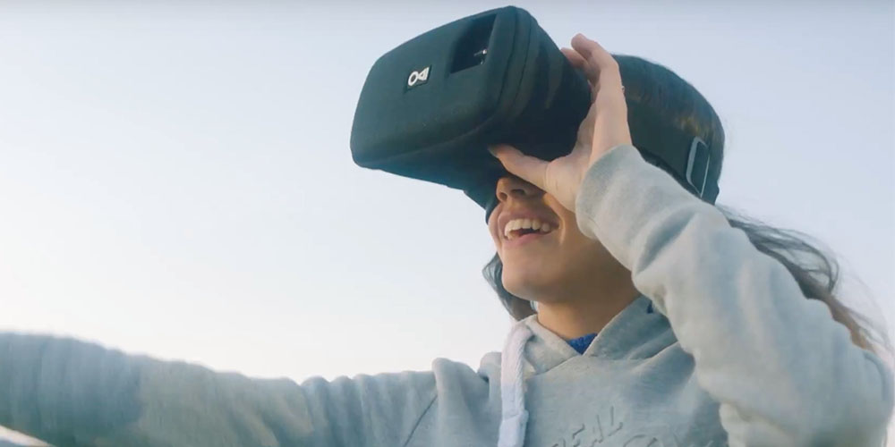 A person wearing an AR headset