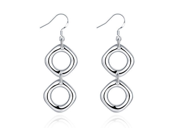 Double Loop Drop Earrings in 18K White Gold Plating