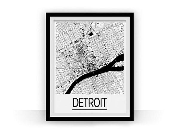 Detroit Art Deco Map Print (11 x 14)