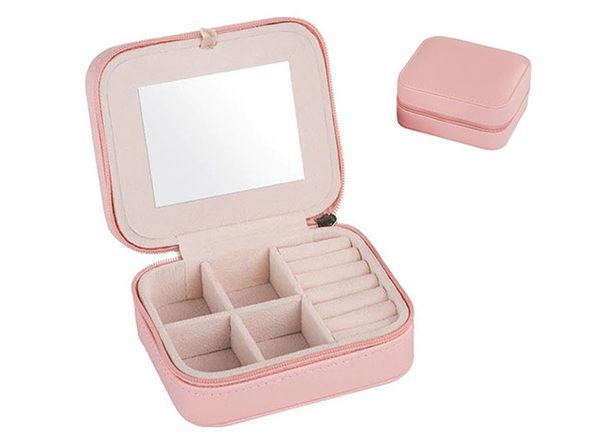 Cool Jewels Palm-Sized Compact Jewelry Box (Pink)