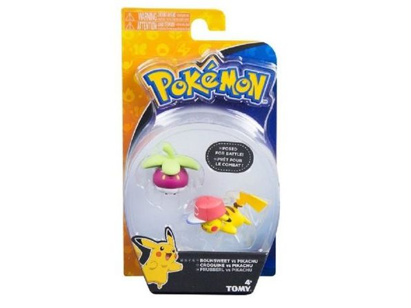 Action Figure Toy - Pokemon - Bounsweet VS Pikachu - 3 Inch - Plastic
