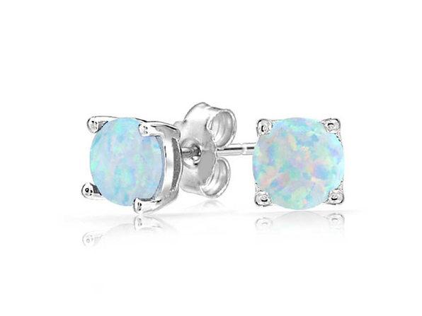 Opal-like Stud Earrings Silver - Product Image