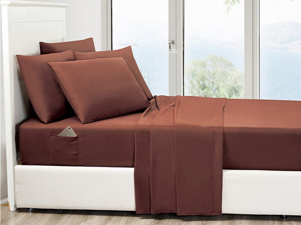 6-Piece Chocolate Ultra Soft Bed Sheet Set with Side Pockets (Queen)