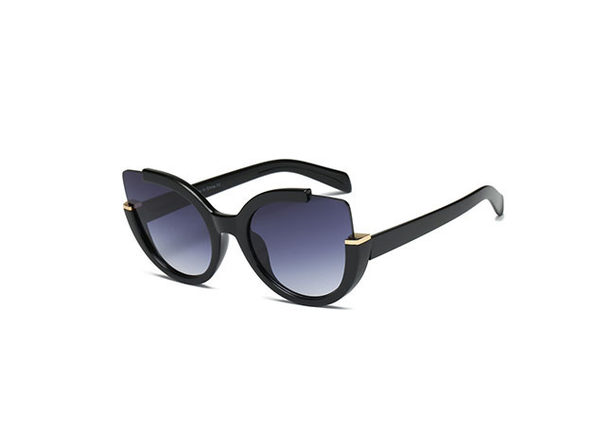 Lauryn Half-Frame Round Cat Eye Sunglasses