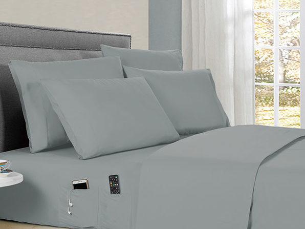Kathy Ireland 6-Piece Smart Sheet Set (Silver/Full)