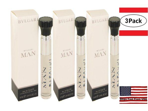 3 Pack Bvlgari Man by Bvlgari Mini EDT Spray .33 oz for Men - Product Image
