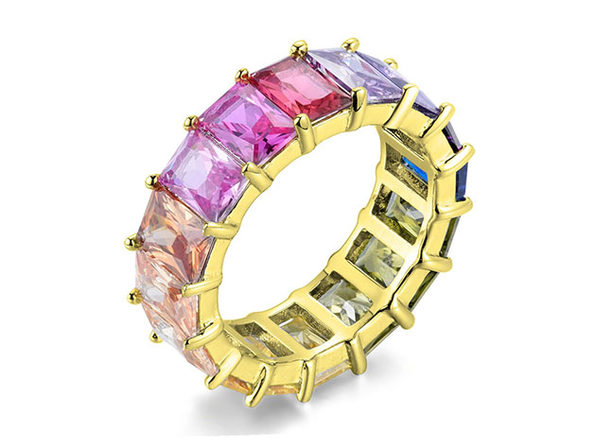 Multicolored Eternity Sterling Silver Band Ring