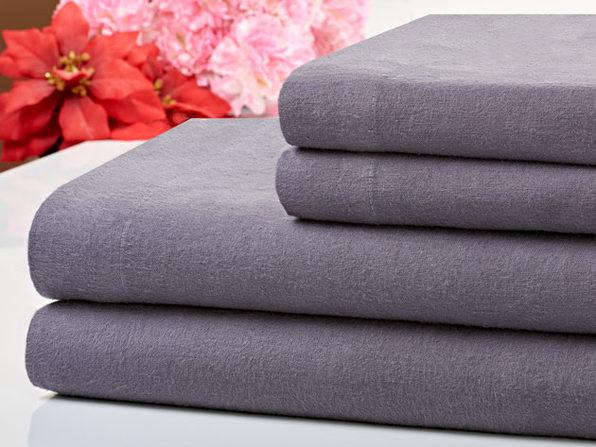 Bibb Home 100% Cotton Flannel Grey Sheet Set (Queen)