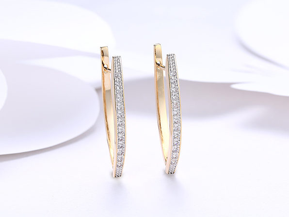 18K Gold Plated Curved Huggie Earrings with Micro-Pav'e Swarovski Crystals (4 Pairs)