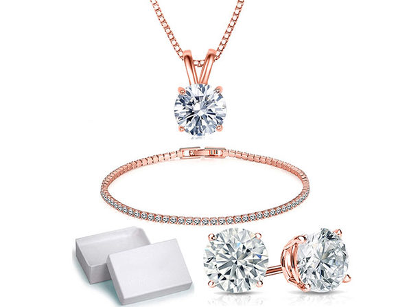 Solitaire 3-Piece Jewelry Set with Swarovski Crystals (Rose Gold)