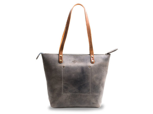 LaSalle Rustic Leather Tote (Mini with Zipper)