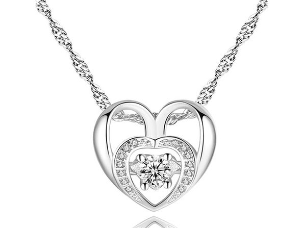 Gold & Crystal Double Heart Necklace - Product Image