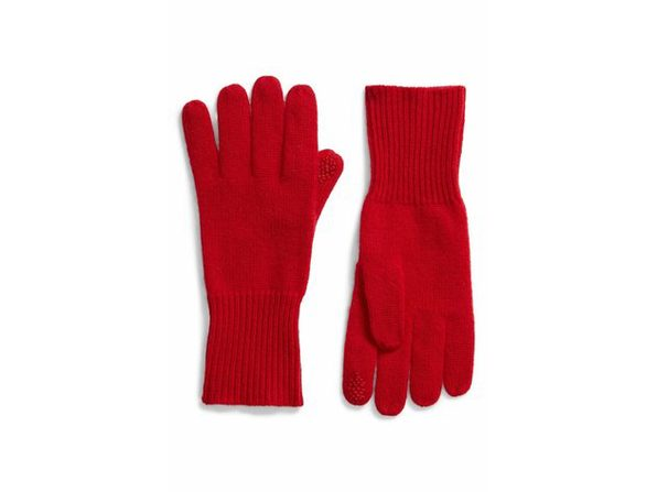 Halogen Rib Knit Pure 100% Cashmere Gloves for Women, Keeps Out The Wind in These Cozy-Chic, One Size, Red - Product Image
